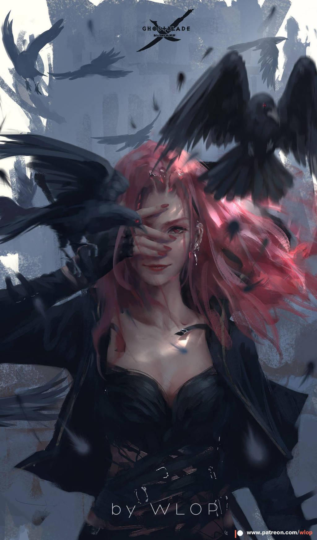 Crow by wlop