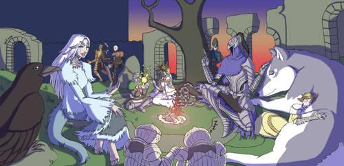Dark Souls characters at Firelink Shrine bonfire by xMrNothingx