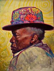 J.L.Hooker,acrylic on carton board by dragophone69