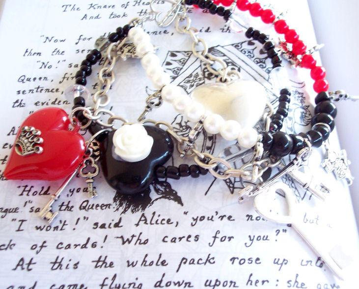 Suit of Hearts Bracelet by neurolepsia