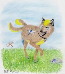 Happy wolf - art trade by Elkenar