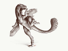 Kicking Utahraptor by FredtheDinosaurman
