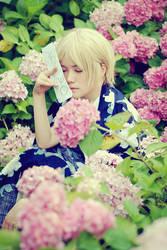 flower and boy by 0aki0