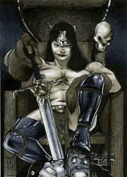 Queen Conan Dungeon Dolls Sketch Card by RichardCox