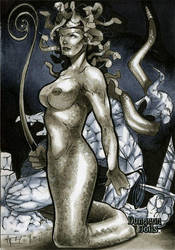 Medusa Dungeon Dolls Sketch Card by RichardCox