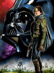 Jyn Erso and Darth Vader by RichardCox