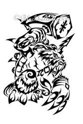 Tribal Zudomon by blackbutterfly006