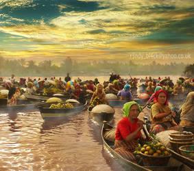 Morning Floating Market by randyrakhmadany