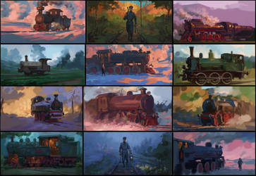 some railroad sketches by TolyanMy