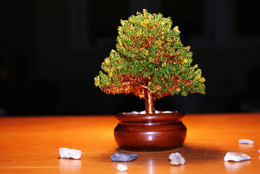 Beaded wire tree in ceramic bowl by memysandi