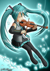 Hatsune Miku with a Violin by Red-Romanov