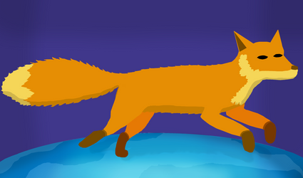 Firefox on the earth +speedpaint by KuriTails