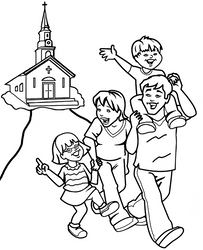 Happy Christian family by Topcoloringpages