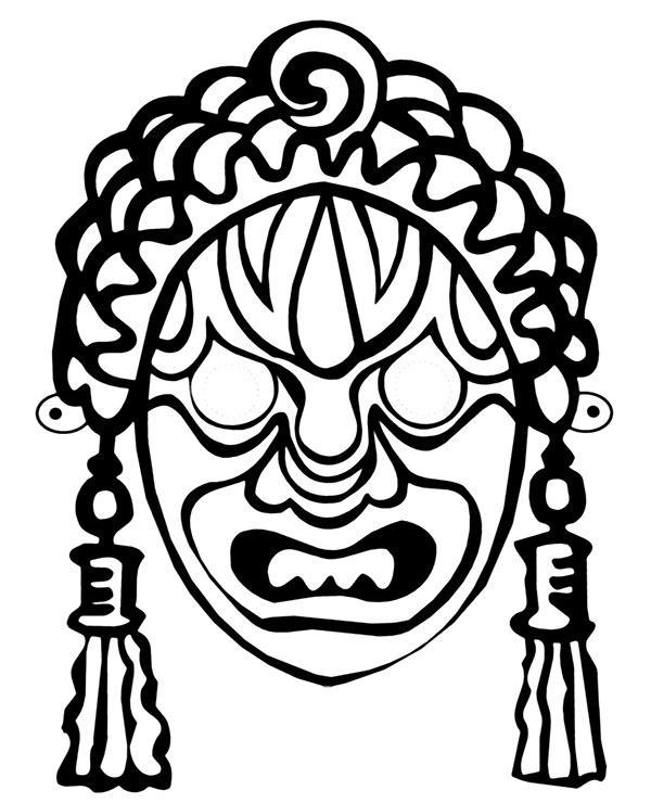 Havaiian mask tattoo coloring sheet by Topcoloringpages