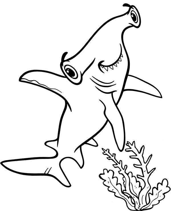 Hammerhead shark free coloring sheet by Topcoloringpages