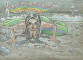 Rainbow Mermaid Blue by Robsojourn