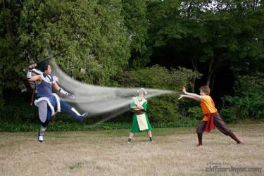 Sokka vs. Aang by RainOwls