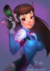 Dva : Lines by Sykosan: Colour by Kidchuckle by kidchuckle