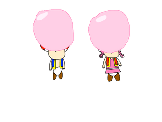 Toad and Toadette floating with bubble gum by AlbinoFluttershy
