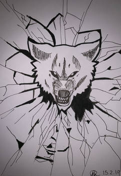 Wolf through shattered glass by Brittanys-Creations