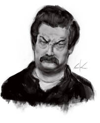 Ron Swanson sketch by Tree-ink