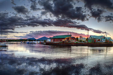 Small Sunset over Ketchikan Waterfront by Muskeg