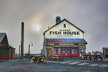Alaska Fish House in the Fog by Muskeg