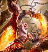 Kratos vs. Warriors by tennyson5000