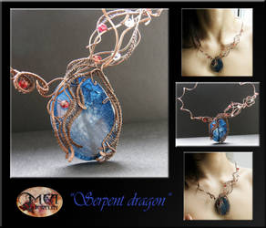 Serpent Dragon- wire wrap necklace by mea00