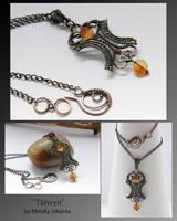 Talwyn- wire wrapped pendant by mea00
