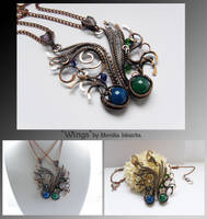 Wings- matching wire wrapped necklaces by mea00