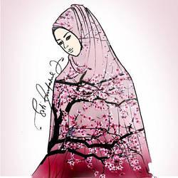 fashion design (hijab sketch) sakura inspiration by sitianifatul