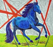 Running Blue Horse - DD 2009 by calzephyr