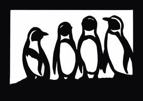 Black and White Penguin Papercut by calzephyr
