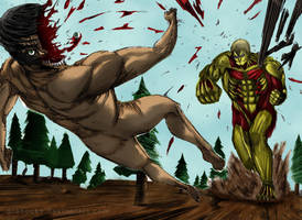 Armored Titan vs Eren by Granocks