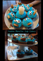 Cookie Monster Cup Cakes by psychmeout