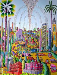tel aviv naive painting raphael perez painter folk by shharc