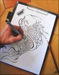 koi line tattoo design by johngiannis27