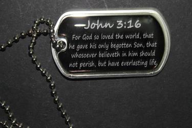 John 3:16 Dog Tag by sabresteen