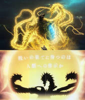 Anime Ghidroah (Poster and Silhouette Comparison) by Goji1999