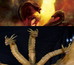 Ghidorah 2019 Poster and Monsterarts Comparison by Goji1999