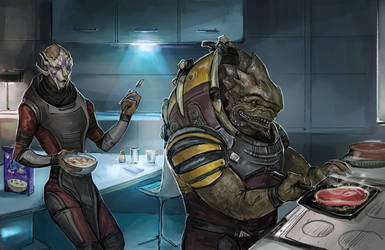 Tempest's Lazy Day - Vetra and Drack by DancinFox