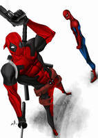 Deadpool / Spiderman by DimaFisher