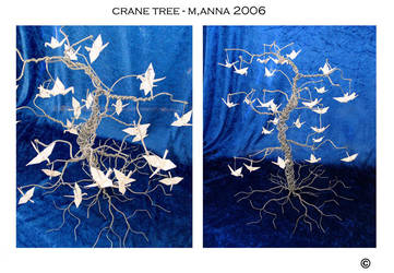 Metal Tree with Cranes by MannaOri