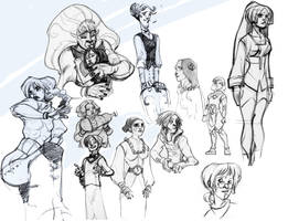 gray pencil characters by Sally-Avernier
