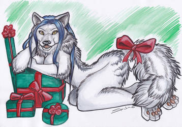 Xmas Furry - Arctic Wolf by shiverz
