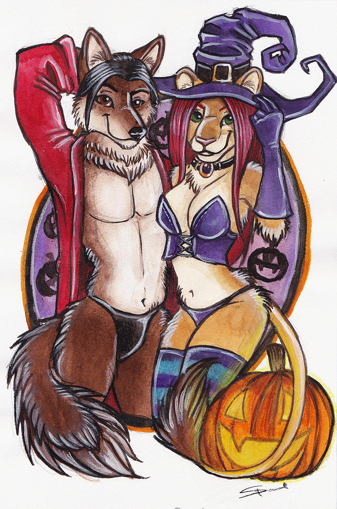 Halloween Couples Commission: Witches and Thong by shiverz
