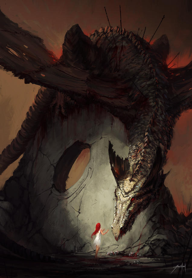 The Girl and the Dragon by JJcanvas