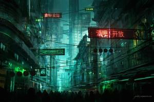 Neo Hong-Kong Street by JJcanvas