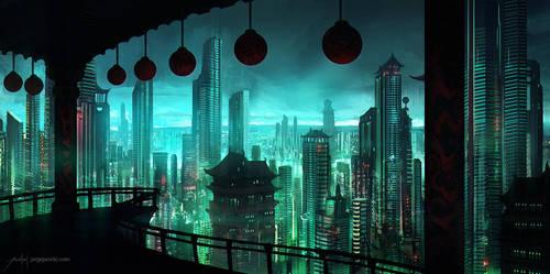 Neo Hong Kong Cityline by JJcanvas
